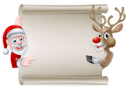 claus: Cartoon Christmas scroll sign of Santa Claus and his reindeer pointing at a scroll banner Illustration