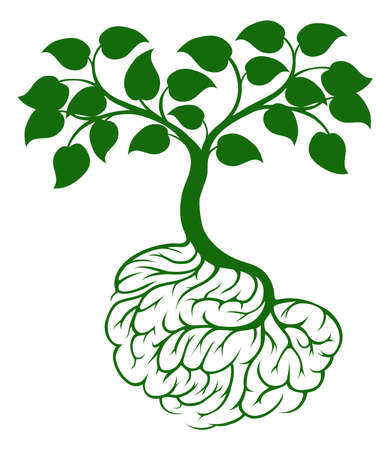brain icon: A tree growing from rooots shaped like a human brain Illustration