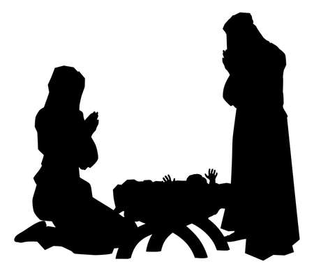 Traditionele religieuze christelijke Kerstmis kerststal van het kindje Jezus in de kribbe met Maria en Jozef in silhouet