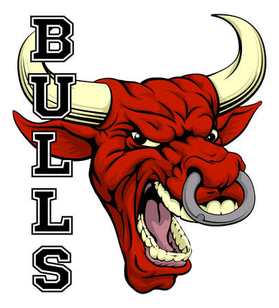 cow head: An illustration of a bull sports mascot head with the word bulls