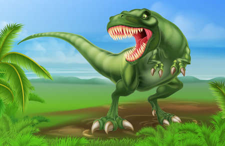 carnivores: An illustration of a mean looking Tyrannosaurs Rex dinosaur in a prehistoric background