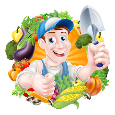 gardening tools: Vegetable gardener cartoon character in a cap and blue dungarees holding a garden hand spade trowel tool and giving a thumbs up surrounded by vegetables