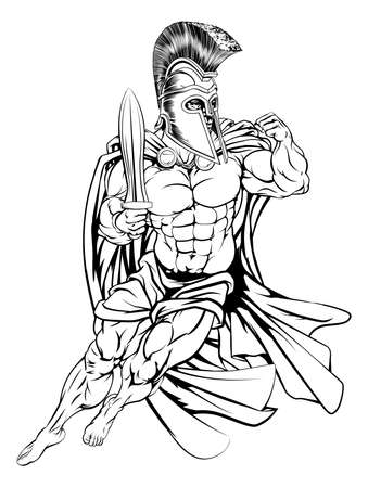 warrior sword: An illustration of a muscular strong Trojan or Spartan Illustration