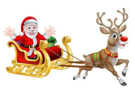 trineo: Caricatura de Santa y su reno con su trineo de Navidad Vectores