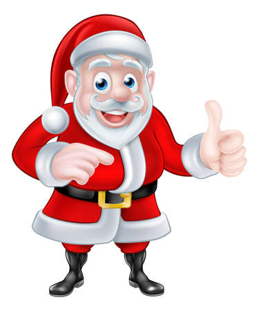 A Christmas cartoon illustration of Santa Claus pointing and giving a thumbs up gesture