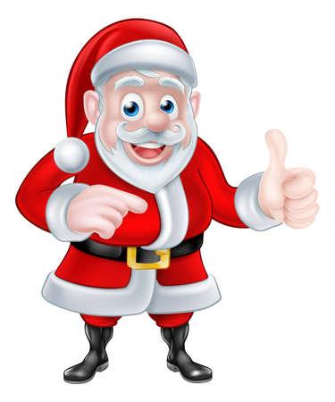papa noel: Un ejemplo de la historieta de la Navidad de Santa Claus señalando y dando un pulgar hacia arriba gesto