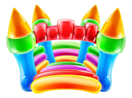 cartoon party: An illustration of a colourful inflatable children s party castle