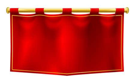 Een middeleeuwse stijl rode banner vlag opgehangen aan een gouden pole