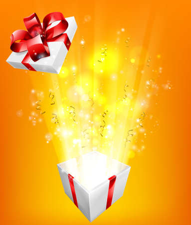 excite: Gift box explosion concept for an exciting birthday, Christmas or other gift or present.