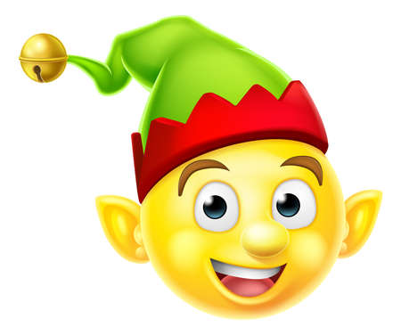 duendes de navidad: Un icono sonriente emoji emoticon ayudante duende de la Navidad Santas lindo Vectores