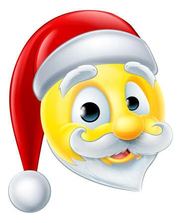 cara sonriente: Un feliz emoticono emoji Navidad de Santa Claus Vectores