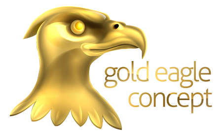 americana: An illustration of a gold golden metallic bald eagle head Illustration