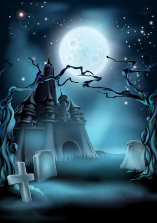 graves: Halloween scary castle graveyard background with a spooky haunted castle, spooky trees and graves and a full moon Illustration