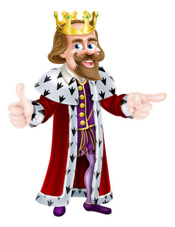 crown cartoon: Cartoon king character illustration wearing a crown giving a thumbs up with one hand and pointing with the other