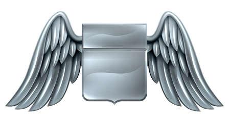 shield: Un acero de plata metal escudo escudo her�ldico her�ldica con alas de dise�o de armas