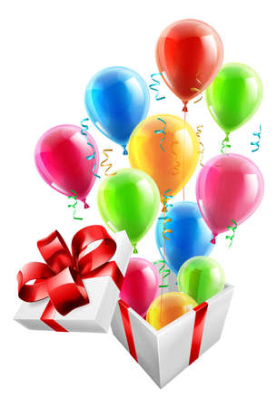 ballons: Gift box with party ballons and streamers, concept for an exciting birthday, Christmas or other gift or present.