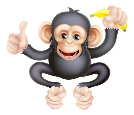 orang: Cartoon chimp monkey like character mascot giving a thumbs up and holding a banana
