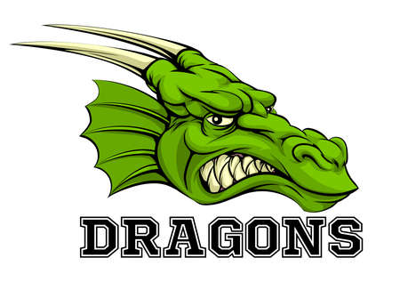 An illustration of a cartoon dragon sports team mascot with the text Dragons