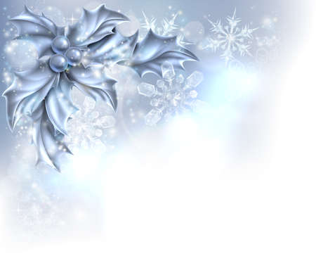 decor: Christmas Holly silver abstract Christmas corner frame background. Fades to white at the bottom and side for easy use as border corner frame design or header.