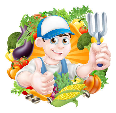 cartoon human: Illustration of a cartoon gardener holding a garden fork tool and giving a thumbs up surrounded by vegetables