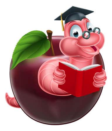 oruga: Oruga de dibujos animados gusano u oruga polilla leyendo un libro y que sale de una manzana y con gafas y gorro de graduación de mortero de junta Vectores