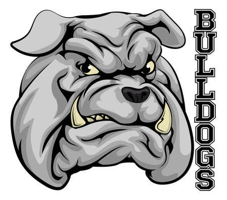 mascots: An illustration of a bulldog sports mascot head with the word bulldogs