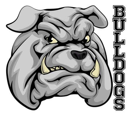 perro furioso: Una ilustración de una cabeza de la mascota deportiva bulldog con la palabra dogos Vectores