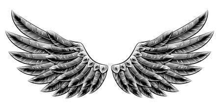wings isolated: Original illustration of vintage woodcut style eagle bird or angel wings