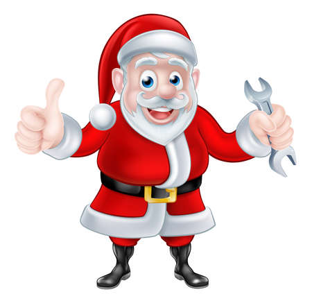santaclaus: Christmas cartoon Santa Claus holding mechanic or plumber spanner or wrench and giving a thumbs up Illustration