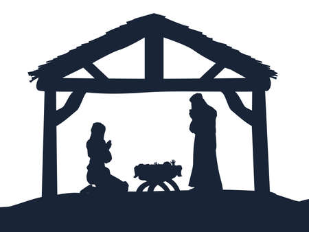 mary and jesus: Traditional Christian Christmas Nativity Scene of baby Jesus in the manger with Mary and Joseph in silhouette