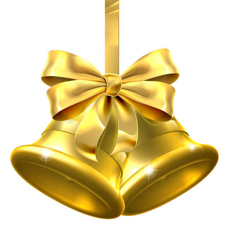 hand bell: Two gold Christmas bells wiith a bow and ribbon