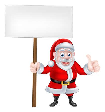 santaclaus: Cartoon Santa Claus holding a sign and giving a thumbs up