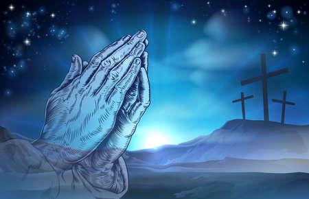 orando: Un ejemplo de la Pascua cristiana de tres cruces en una colina y manos en oración Vectores