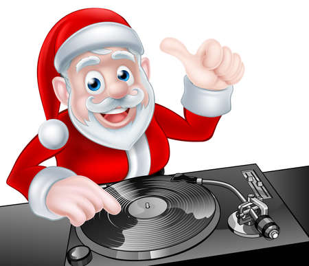 christmas ground: Cartoon Christmas Santa Claus DJ at the record decks Illustration