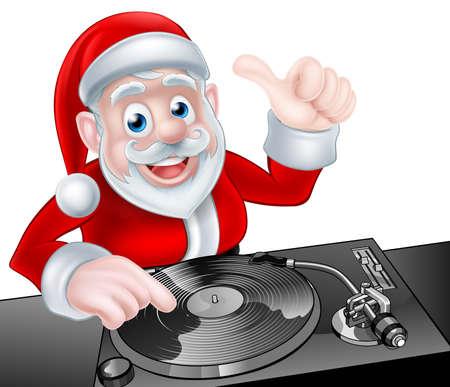 fiesta dj: Dibujos animados de Navidad de Papá Noel DJ en las cubiertas de registro