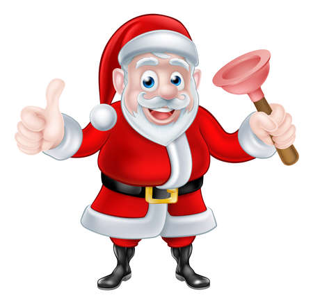 plummer: Christmas cartoon Santa Claus holding rubber toilet plunger and giving a thumbs up