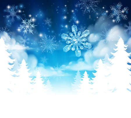 Winter Christmas trees snow background with clouds and stars. Fades to white at the bottom for easy use as border design or header. Illustration