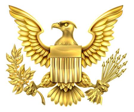 aigle royal: Or American Eagle Conception d'aigle à tête blanche des États-Unis tenant un rameau d'olivier et des flèches avec le bouclier de drapeau américain