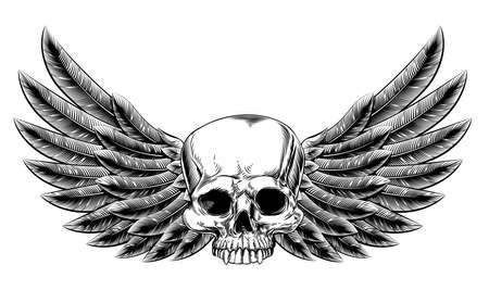 tatouage ange: Illustration originale de cru cr�ne de style de gravure sur bois avec des oiseaux aigle ou des ailes d'ange Illustration