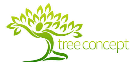 ライフスタイル: ダンス図または広げられた腕によって人の形をした木の概念設計要素