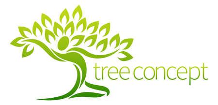 vida saludable: Elemento de diseño conceptual de un árbol en la forma de una figura de la danza o de la persona con los brazos extendidos