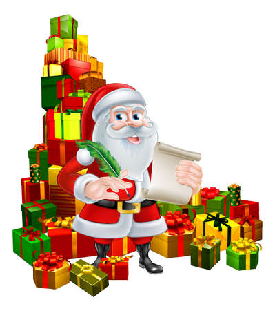 lots: Christmas cartoon of Santa Claus holding a scroll and pen quill feather and standing in the middle of a huge stack of gifts. Perhaps his naughty or nice Christmas list. Illustration