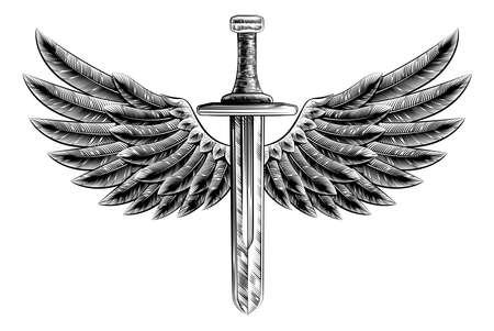 alas de angel: Ilustración original de la vendimia de la espada estilo de grabado con el pájaro águila o alas de ángel