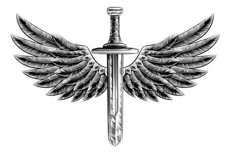 sword: Original illustration of vintage woodcut style sword with eagle bird or angel wings Illustration