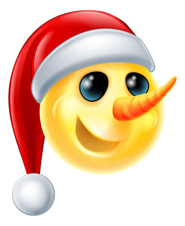 illustration isolated: A snowman Christmas emoticon Emoji wearing a Santa hat Illustration
