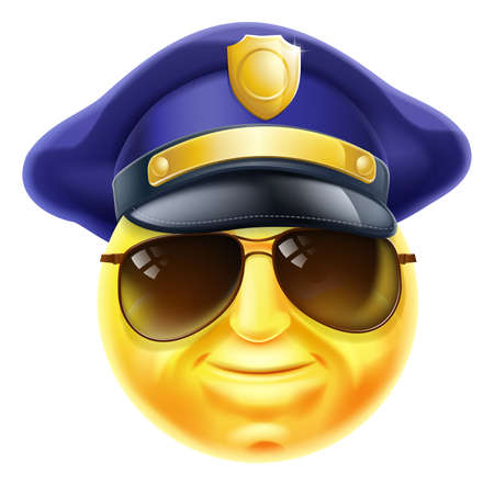 police cartoon: An emoji emoticon smiley face police man, policeman or security guard character