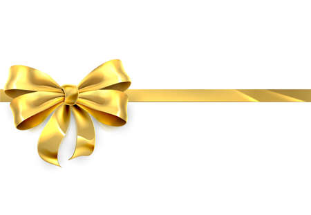 gold colour: A gold ribbon and bow design element from a Christmas, birthday or other gift or present