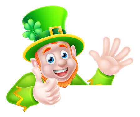 Leprechaun cartoon St Patricks Day character peeking above a sign waving and giving a thumbs up