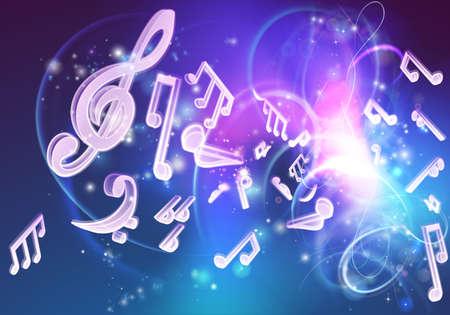 partition musique: Un fond de musique avec des notes de musique et un néon comme lueur Illustration