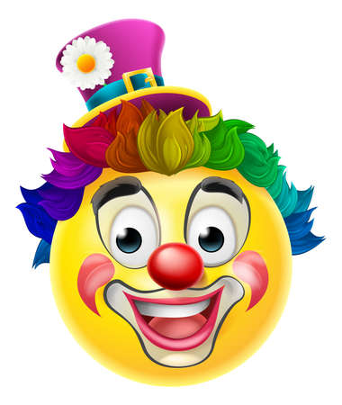 cartoon human: A clown cartoon emoji emoticon smiley face character with a red nose, rainbow wig, and face paint make up